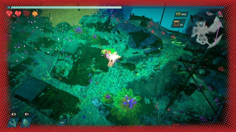 Fight scene with red border around the edge of the screen indicating damage.