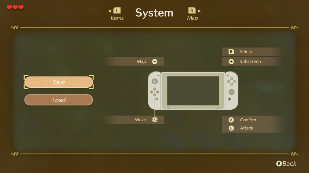 System/save screen