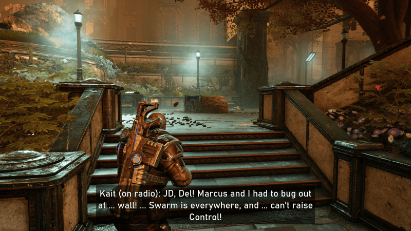 Gameplay scene with large subtitles and (on radio) shown to indicate from where the person is speaking.