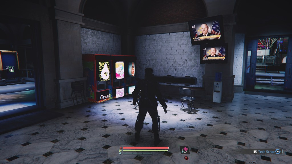 Player character in a room with two TV screens and a tiny speaker icon shown on them.