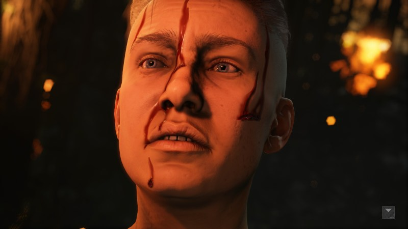 Player character shown in cutscene, grunting in pain, lacking captions.