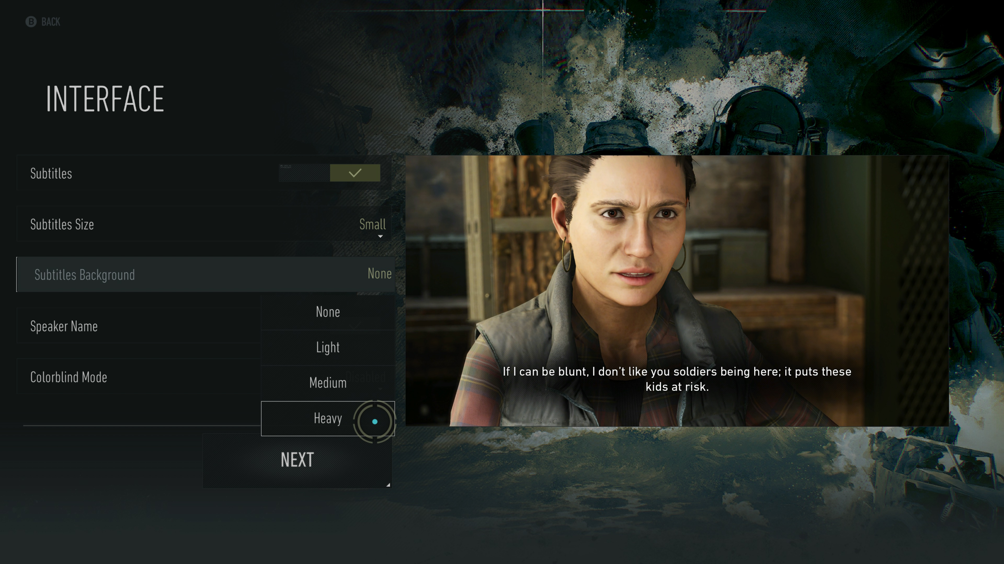Interface options screen showing subtitle background options.