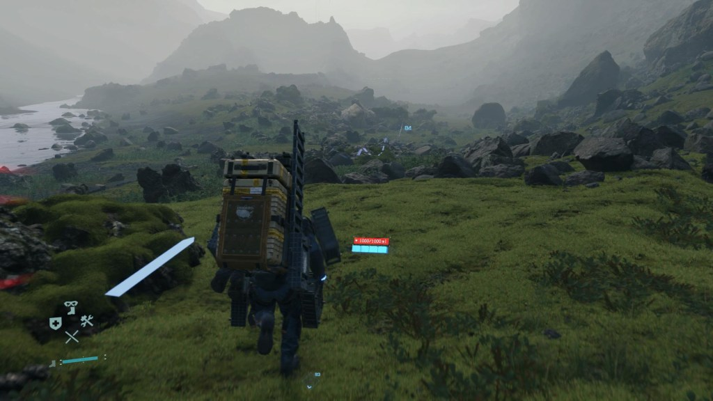 Illustrating the enemy visualization via red streaks on the side of the screen.
