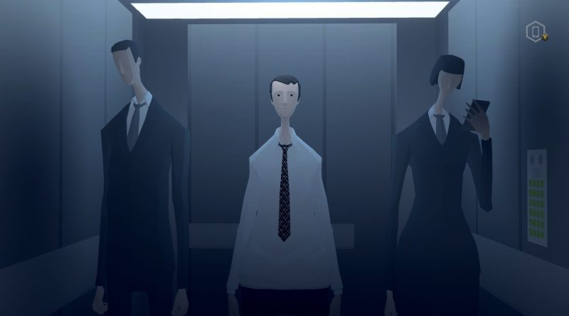Three low-poly characters in an elevator.