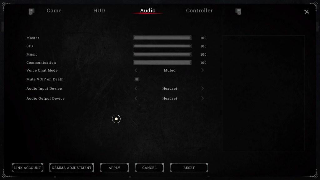 The audio settings menu.