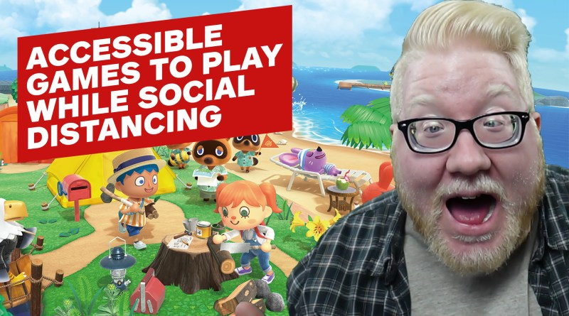 "Screenshot of several characters from Animal Crossing on an island. The right side of the image has a photo of Steve Saylor smiling with his mouth wide open. The text on the image reads ""Accessible games to play while social distancing"""