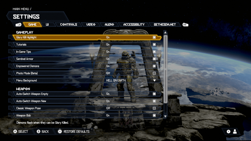 Doom Eternal Game Settings Menu. Options include: Glory Kill Highlight set to On, Tutorials set to On, In-Game Tips set to On, Sentinel Armor set to ON, Empowered Demons set to On, Photo Mode (Beta) set to Off, Menu Background set to Hell On Earth, Auto-Switch Weapon Empty set to On, Auto-Switch Weapon New set to On, Classic Weapon Pose set to Off, Weapon Bob set to On