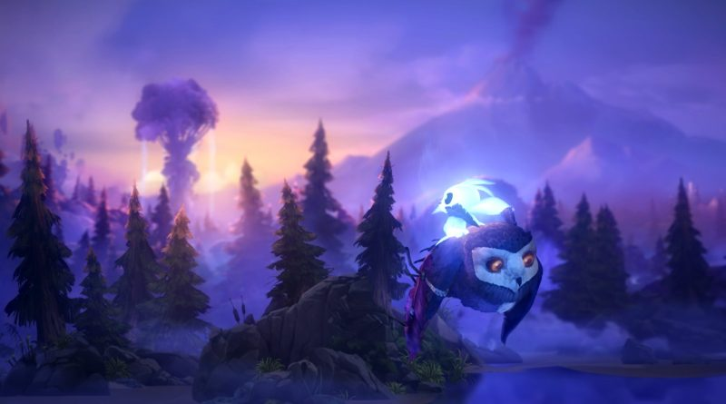 Ori flying through the sky on the back of a young owl.