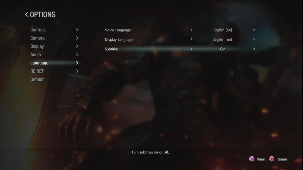 Resident Evil 3 Language Settings Menu. Options include: Voice Language set to English, Display Language set to English, Subtitles set to On