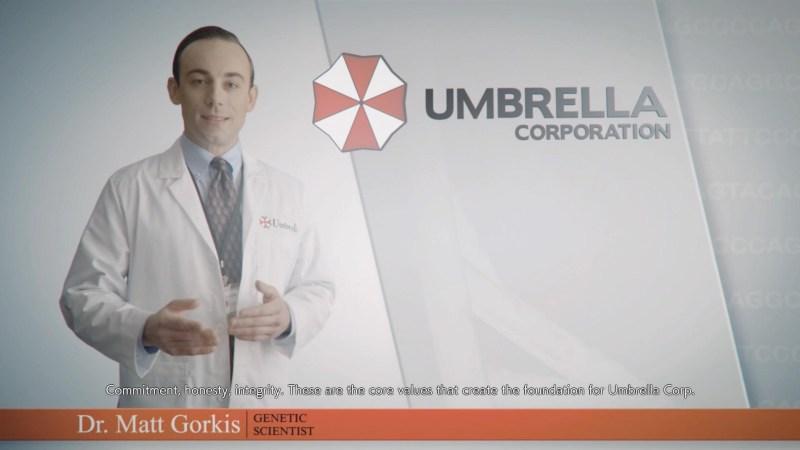 A cutscene illustrating the white text on white background subtitles.