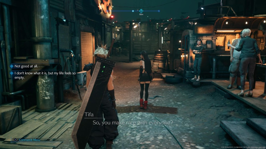 Illustrating the NPC chatter subtitles on the left side of the screen.