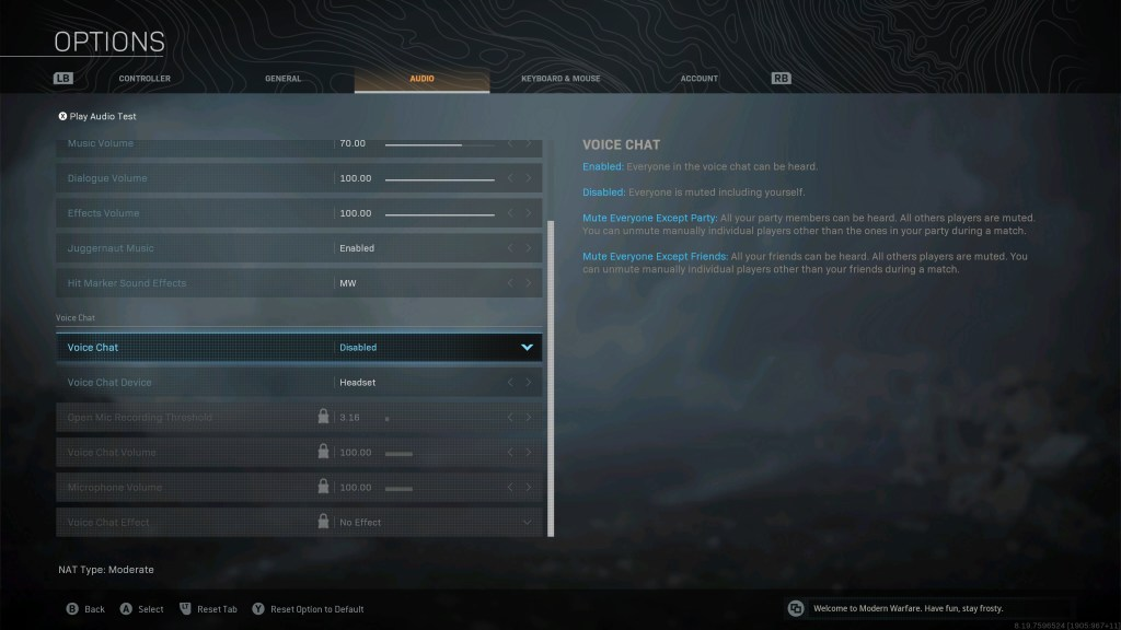 Voice chat options.