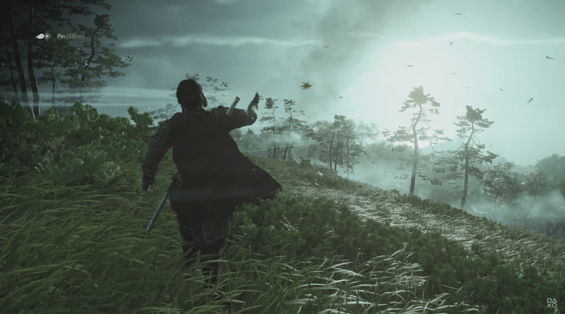 Ghost of Tsushima - Samurai looking out over a foggy, green tinged landcape, while holding a hand out, releasing a single leaf as white gusts of wind float past to the distance.