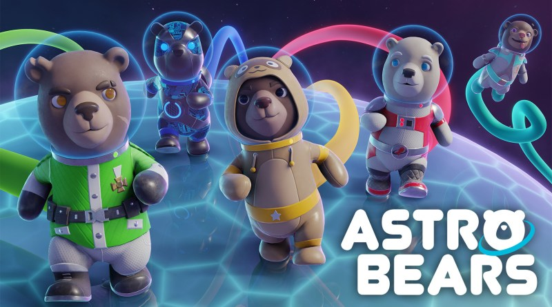 Astro Bears Key Art - Five bears in spacesuits walking on the surface of a planet