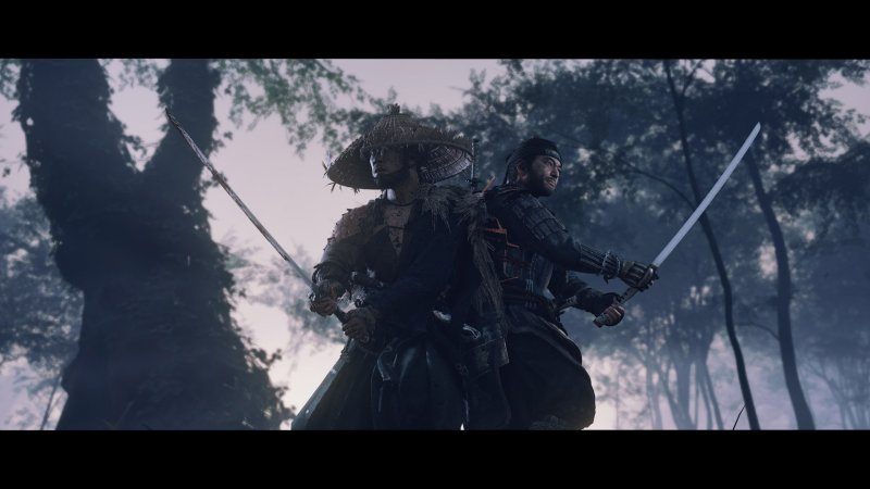 Ghost of Tsushima - Two samurai's standing back-to-back with samurai swords at the ready, facing away from them. Large trees and fog surrounds them.