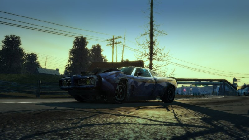 Burnout Paradise Remastered battered car with a sunrise behind it