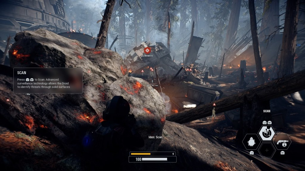 Star Wars Battlefront 2 - Player in combat hiding behind a rock, enemy indicators shown in the distance