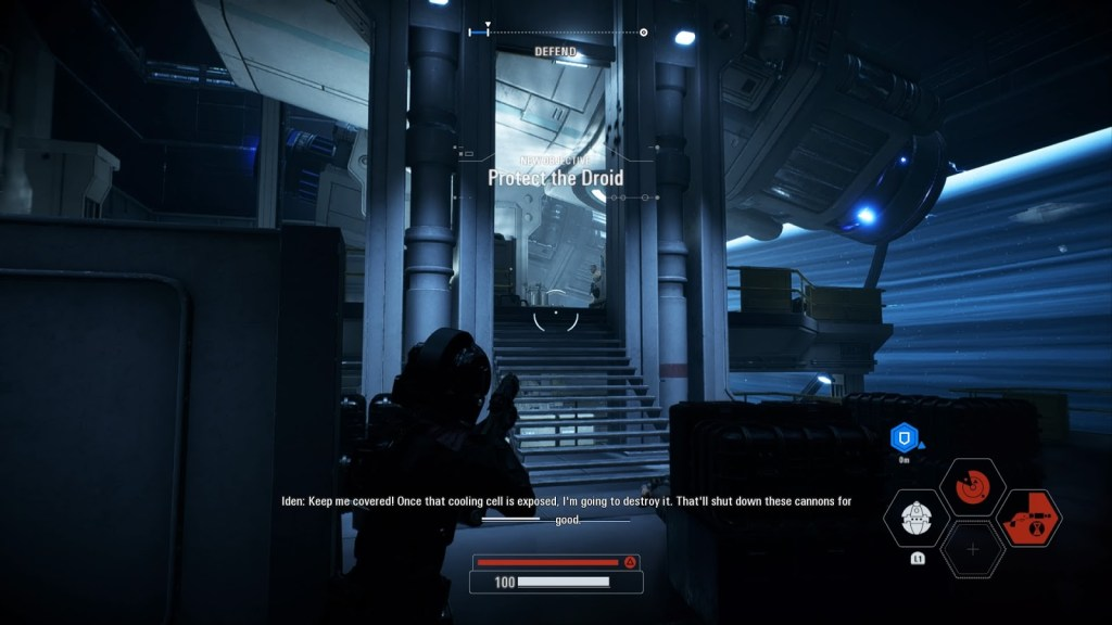 Star Wars Battlefront 2 - player aiming up some stairs