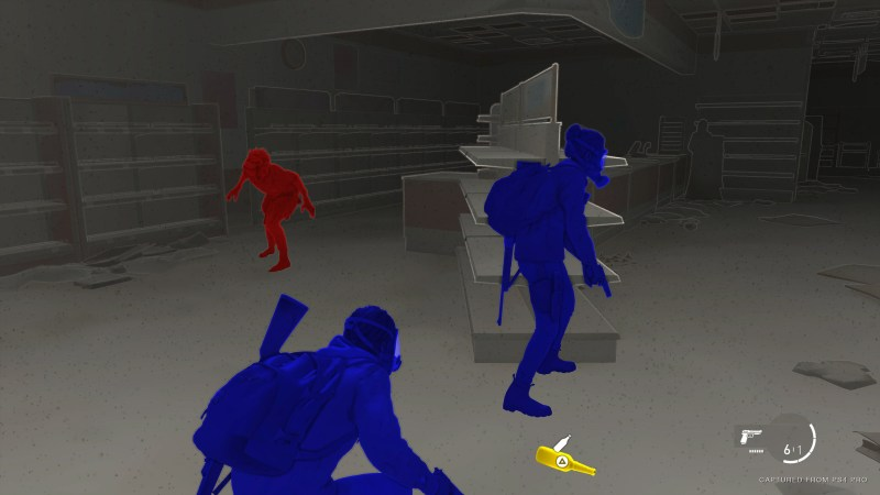 High Contrast Mode with friendlies in blue, enemies in red, and interactable objects in yellow.