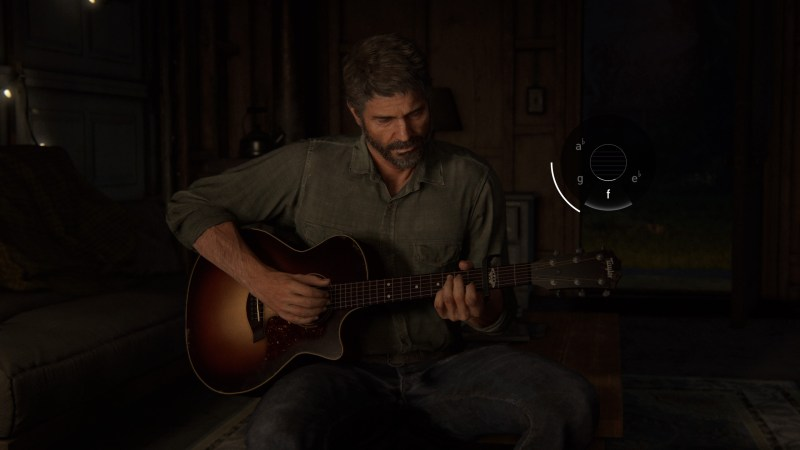 The Last of Us 2 - Joel playing the guitar showing the minigame on the right of the screen.