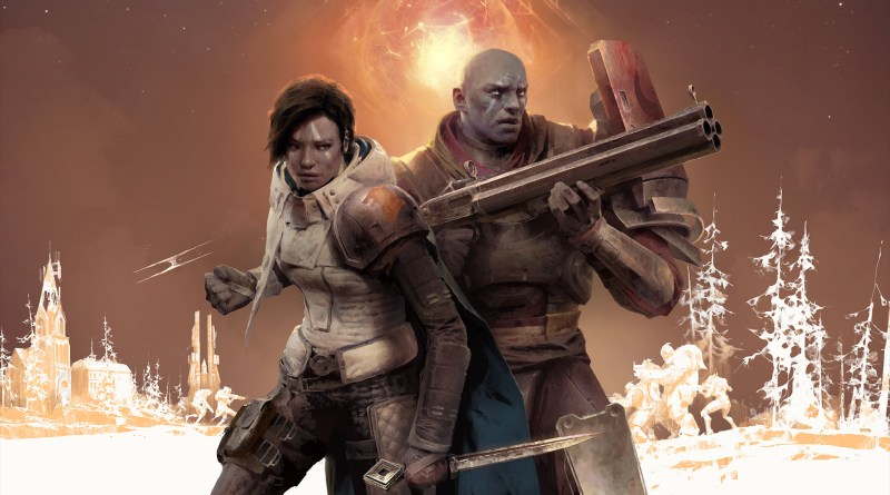 Destiny 2 - Man and woman stand in combat ready poses, surrounding is a stylish background of a battle taking place