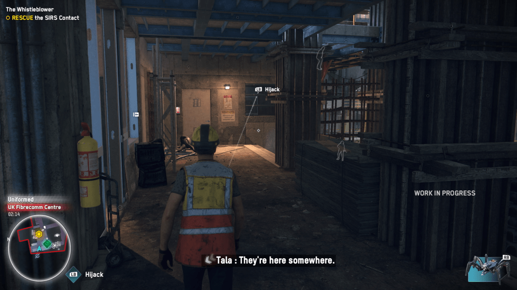 Watch Dogs Legion builder character about to hack a cctv camera the other side of a wall.