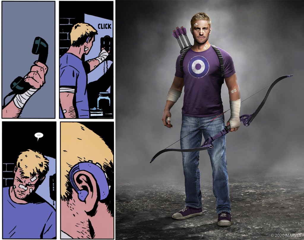 Marvel's Avengers in-game model of Hawkeye, covered in bandages and plasters, holding a bow, arrows strapped to his back, and a purple shirt with a target on. A comic book excerpt to the left shows the same style and a close up of the hearing aid.
