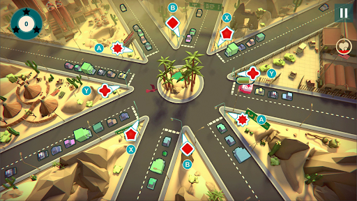 Urban Flow Gameplay showing differently shaped traffic lights with button prompts