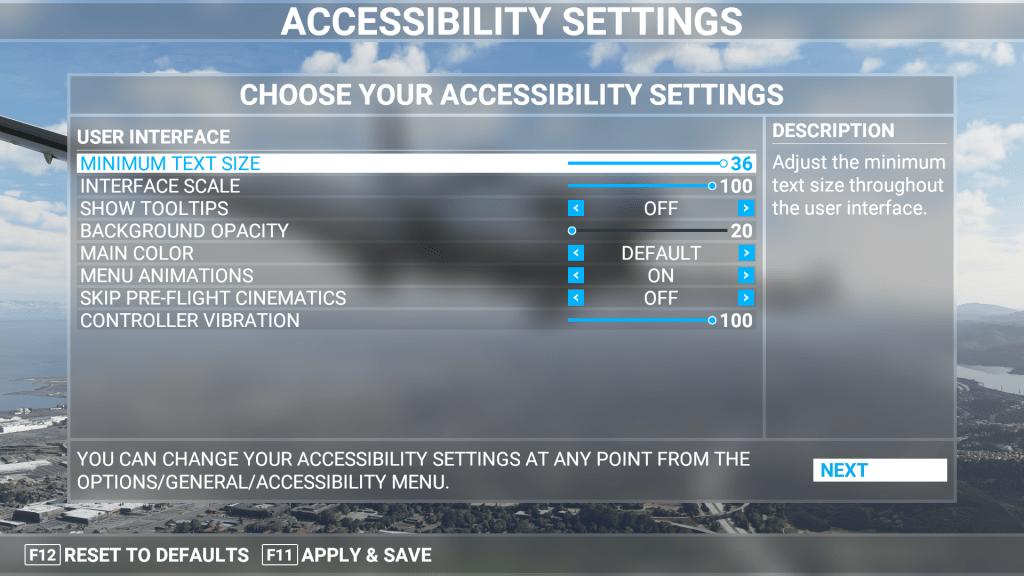 Accessibility menu for Microsoft Flight Simulator