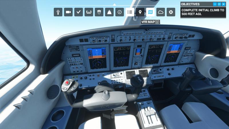 Microsoft Flight Simulator cockpit view with screens
