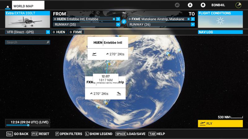 World map for Microsoft Flight Simulator