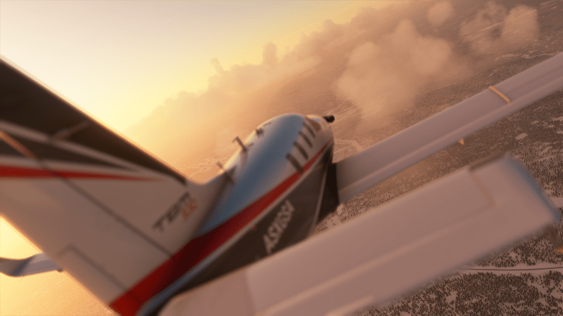 Microsoft Flight Simulator airbus flying over clouds in sunset