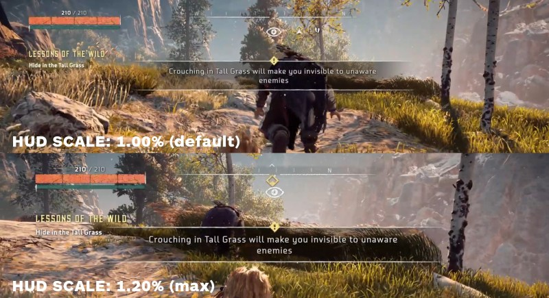 Difference in HUD scaling in the PC version of Horizon Zero Dawn. Top of the image shows the HUD at 1.00% scale and the bottom half shows the HUD at 1.20% scale.