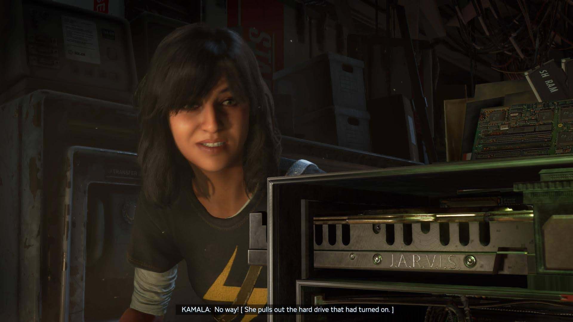 Kamala removing a hard drive from a PC tower, illustrating more closed captions.