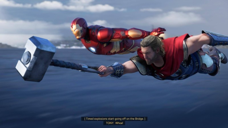 Thor and Iron Man flying, illustrating the game's closed captions.