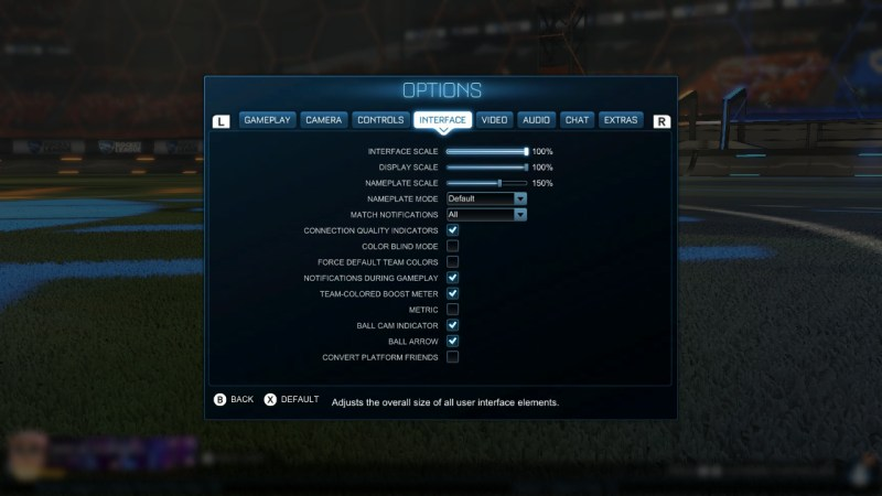 Rocket League options menu showing interface settings