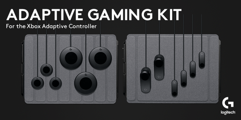 An image depicting the components of the Logitech Adaptive Gaming Kit.
