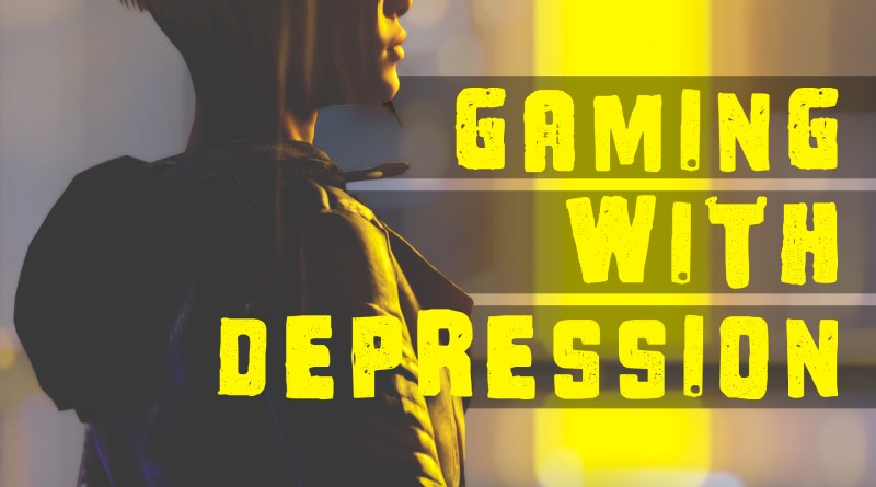 """Gaming with Depression"" text overlays a yellow beam of light in the background, with a video game silhouette of Faith from Mirror's Edge in the foreground."