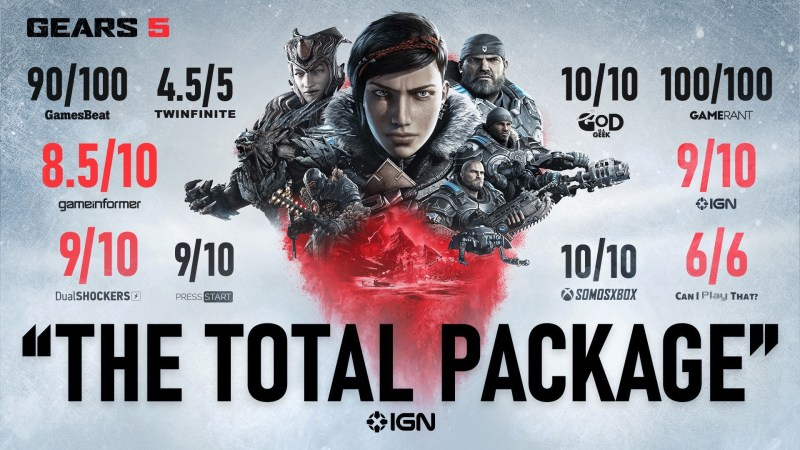 Scores roundup press image for Gears 5 featuring CIPT's score in the lower right corner.