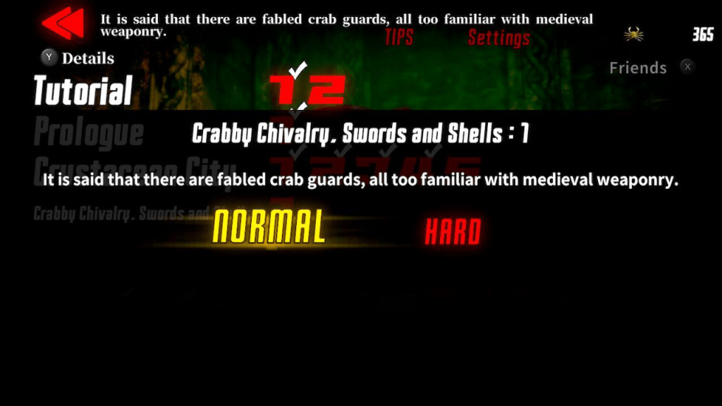 Fight Crab tutorial difficulty choices