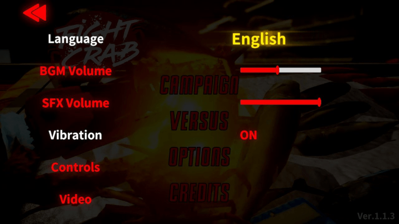 The options menu showing volume sliders, vibration, and controls