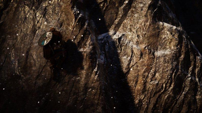 Assassin's Creed Valhalla Eivor climbing a mountain