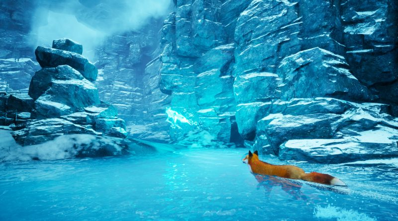 Spirit of the North - A blue and white ice field with a red fox. The fox is following a blue spirit.