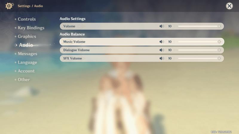 Genshin Impact accessibility dive audio settings