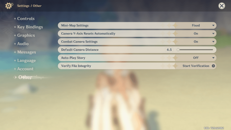Genshin Impact accessibility dive other menu