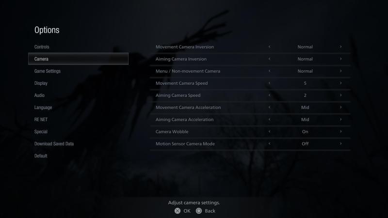 The camera options menu.