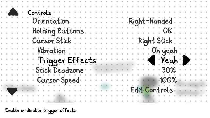 Controls menu.
