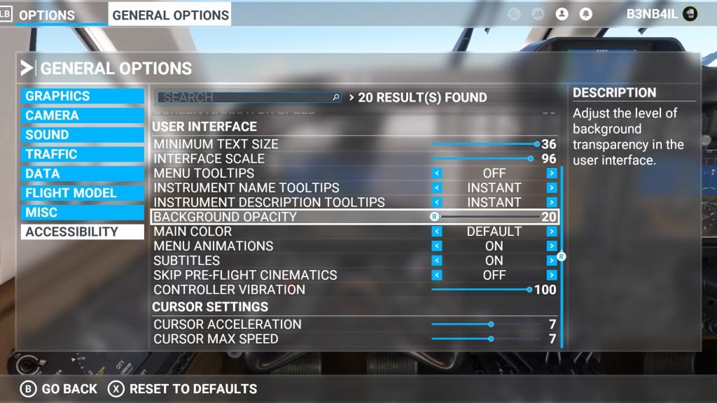 Microsoft Flight Simulator accessibility menu
