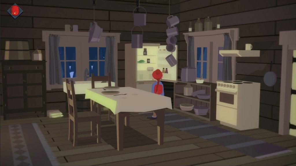 Roki inside a cabin looking into an open fridge