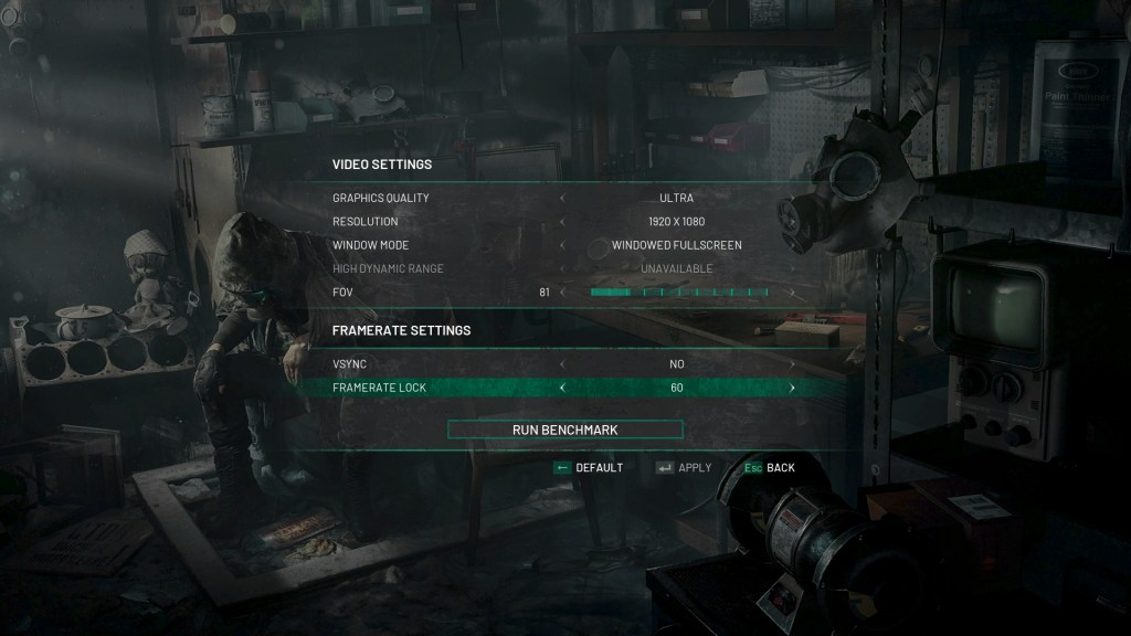 chernobylite video options screen